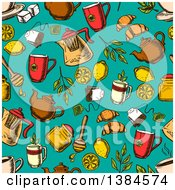 Clipart Of A Seamless Background Pattern Of Sketched Herbal Tea And Accessories On Turquoise Royalty Free Vector Illustration
