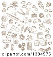 Clipart Of Brown Sketched Baked Goods Royalty Free Vector Illustration