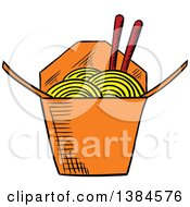 Clipart Of A Sketched Takeout Container Of Noodles Royalty Free Vector Illustration
