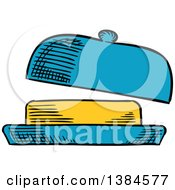 Clipart Of A Sketched Stick Of Butter In A Dish Royalty Free Vector Illustration