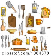 Clipart Of Sketched Kitchen Items Royalty Free Vector Illustration by Vector Tradition SM