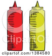 Clipart Of Sketched Ketchup And Mustard Bottles Royalty Free Vector Illustration