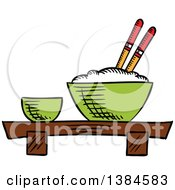 Clipart Of A Sketched Bowl Of Rice Royalty Free Vector Illustration
