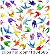 Seamless Background Pattern Of Colorful Origami Swallow Birds