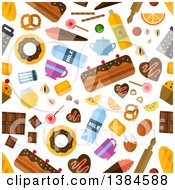 Clipart Of A Seamless Background Pattern Of Sweets Royalty Free Vector Illustration by Vector Tradition SM