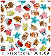 Seamless Background Pattern Of Colorful Owls