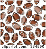 Background Pattern Of Seamless Brown And White American Footballs