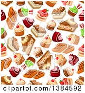 Clipart Of A Seamless Background Pattern Of Waffles Cakes And Cupcakes Royalty Free Vector Illustration