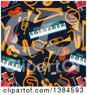 Seamless Background Pattern Of Musical Instruments On Navy Blue