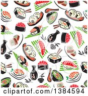 Clipart Of A Seamless Background Pattern Of Sushi Royalty Free Vector Illustration by Vector Tradition SM