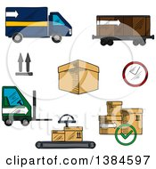 Clipart Of Sketched Boxes And Logistics Icons Royalty Free Vector Illustration