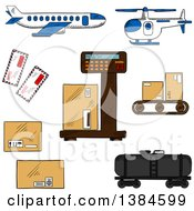 Clipart Of Sketched Shipping And Freight Icons Royalty Free Vector Illustration