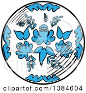 Clipart Of A Sketched Floral Plate Royalty Free Vector Illustration