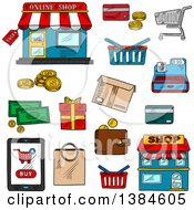 Clipart Of Sketched Shop And Retail Icons Royalty Free Vector Illustration by Vector Tradition SM