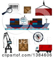 Clipart Of Sketched Shipping And Logistics Icons Royalty Free Vector Illustration