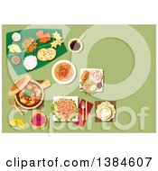 Clipart Of A Table Setting Of Malaysian Cuisine With Nasi Lemak Rice And Prawn Noodle Tofu Noodle With Curry Pork Stew With Mushrooms And Tofu Passion Fruit And Carambola Mango Pineapple Fruits With Bread And Dessert On Banana Leaf Royalty Free V by Vector Tradition SM