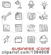 Clipart Of Gray Business And Office Icons With Red Text Royalty Free Vector Illustration