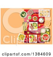 Clipart Of A Table Setting Of Indian Cuisine With Candles Rose Petals And Curry With Rice Kebab And Tandoori Chicken Legs Vegetables And Lemons Spinach Soup With Cheese Dessert And Tea Royalty Free Vector Illustration