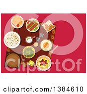 Clipart Of A Table Setting Of Turkish Cuisine Dishes And Desserts With Kebab And Falafels Pita Bread With Dipping Sauces Hummus And Rice Pickled Green Olives And Lahmacun With Meat And Vegetables Royalty Free Vector Illustration