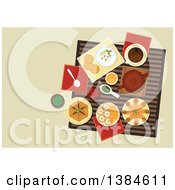 Clipart Of A Table Setting Of Arabic Cuisine With Chickpea Falafels Wrapped In Flatbread Pita With Hummus Assortment Of Dipping Sauces Sfiha Meat Pie Teapot And Cakes With Sliced Oranges Royalty Free Vector Illustration