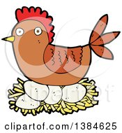 Clipart Of A Cartoon Hen Chicken Nesting Royalty Free Vector Illustration