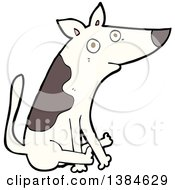 Clipart Of A Cartoon Dog Scooting His Butt On The Floor Royalty Free Vector Illustration