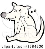 Clipart Of A Cartoon Dog Scratching Royalty Free Vector Illustration by lineartestpilot