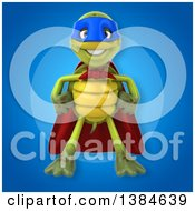 Clipart Of A 3d Green Tortoise Super Hero On A Blue Background Royalty Free Illustration