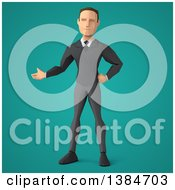 Clipart Of A 3d Low Poly Caucasian Business Man On A Turquoise Background Royalty Free Illustration by Julos