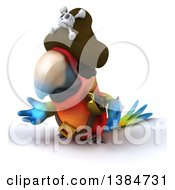 Clipart Of A 3d Scarlet Macaw Parrot Pirate On A White Background Royalty Free Illustration