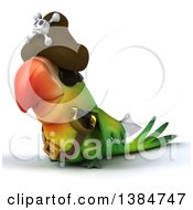Clipart Of A 3d Green Macaw Parrot Pirate On A White Background Royalty Free Illustration