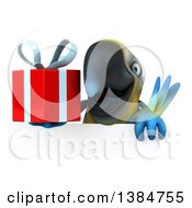 Clipart Of A 3d Blue And Yellow Macaw Parrot On A White Background Royalty Free Illustration