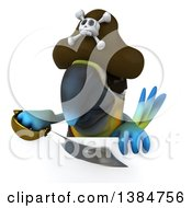 Clipart Of A 3d Blue And Yellow Macaw Parrot Pirate On A White Background Royalty Free Illustration