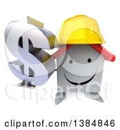 Clipart Of A 3d White Home Contractor Character On A White Background Royalty Free Illustration