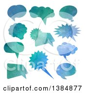 Clipart Of Watercolor Painted Speech Bubbles Royalty Free Vector Illustration