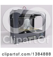 3d Printer Creating A Head On A White Background