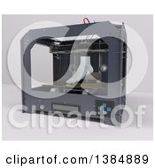 Clipart Of A 3d Printer Creating A Foot On A White Background Royalty Free Illustration