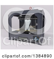 3d Printer Creating A Male Torso On A White Background