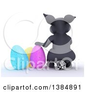 Clipart Of A 3d Rear View Of A Gray Bunny Rabbit With Easter Eggs On A White Background Royalty Free Illustration by KJ Pargeter