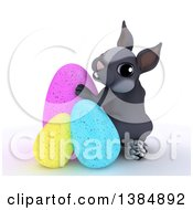 Clipart Of A 3d Cute Gray Bunny Rabbit With Easter Eggs On A White Background Royalty Free Illustration by KJ Pargeter