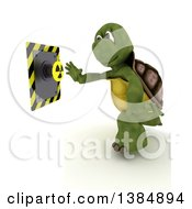 3d Tortoise Pushing A Radioactive Button On A White Background