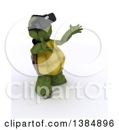 Clipart Of A 3d Tortoise Wearing A Virtual Reality Headset On A White Background Royalty Free Illustration