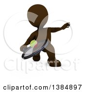 Clipart Of A 3d Brown Man Playing Tennis On A White Background Royalty Free Illustration
