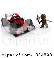 3d Brown Man Holding A Racing Flag By A Forumula One Race Car On A White Background
