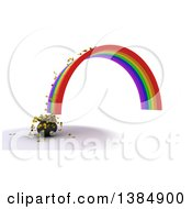 3d End Of A Rainbow And Pot Of Gold With Coins Spilling Out On A White Background
