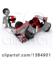 3d Black Man Driver Holding A Helmet By A Forumula One Race Car On A White Background