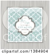 Clipart Of A Save The Date Invite With Floral Tiles And Sample Text Over Wood Royalty Free Vector Illustration