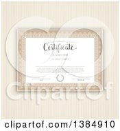 Clipart Of A Certificate Template With Sample Text Over Brown Stripes Royalty Free Vector Illustration