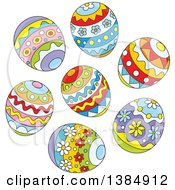 Clipart Of A Cluster Of Decorated Easter Eggs Royalty Free Vector Illustration