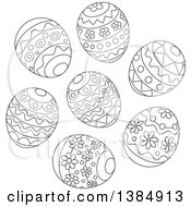 Black And White Cluster Of Decorated Easter Eggs